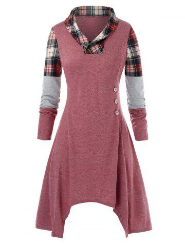 Plus Size Asymmetric Plaid Midi Dress