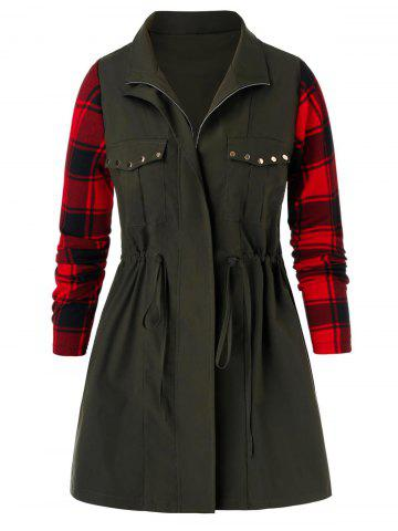 Plus Size Studded Drawstring Plaid Coat - ARMY GREEN - 4X