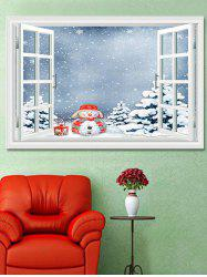 Christmas Snowman Trees Window Print Decorative Wall Art Sticker -