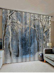 Snow Forest Pattern Window Curtains -