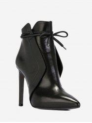 Front Tie High Heel Pointed Toe Boots -