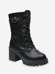Buckle Accent Lace Up Mid Calf Boots -