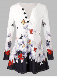 Plus Size V Neck Butterfly Floral T Shirt -
