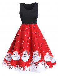 Christmas Santa Claus Snowflake A Line Tank Dress -