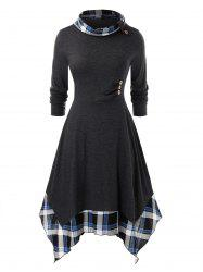Plus Size Plaid Handkerchief Dress -