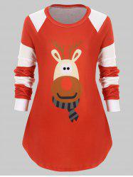 Plus Size Elk Graphic Striped Christmas Tunic Top -