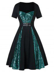 Plus Size Two Tone Sequined Buckle A Line Vintage Dress -
