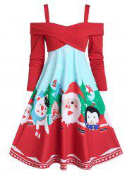 Christmas Santa Claus Print Crossover Cold Shoulder Flare Dress -