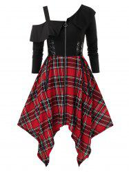 Plus Size Handkerchief Lace Up Plaid Punk Dress -