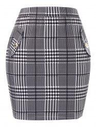 Plus Size Houndstooth Tight Jupe taille haute - Ardoise Grise Claire M