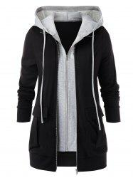 Plus Size 2 en 1 Veste Zipper capuche -