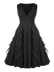 Plus Size Ruffled  Plunging Knee Length Party Dress -