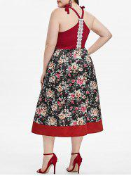 Tie Shoulder Lace Trim Floral Plus Size Dress -