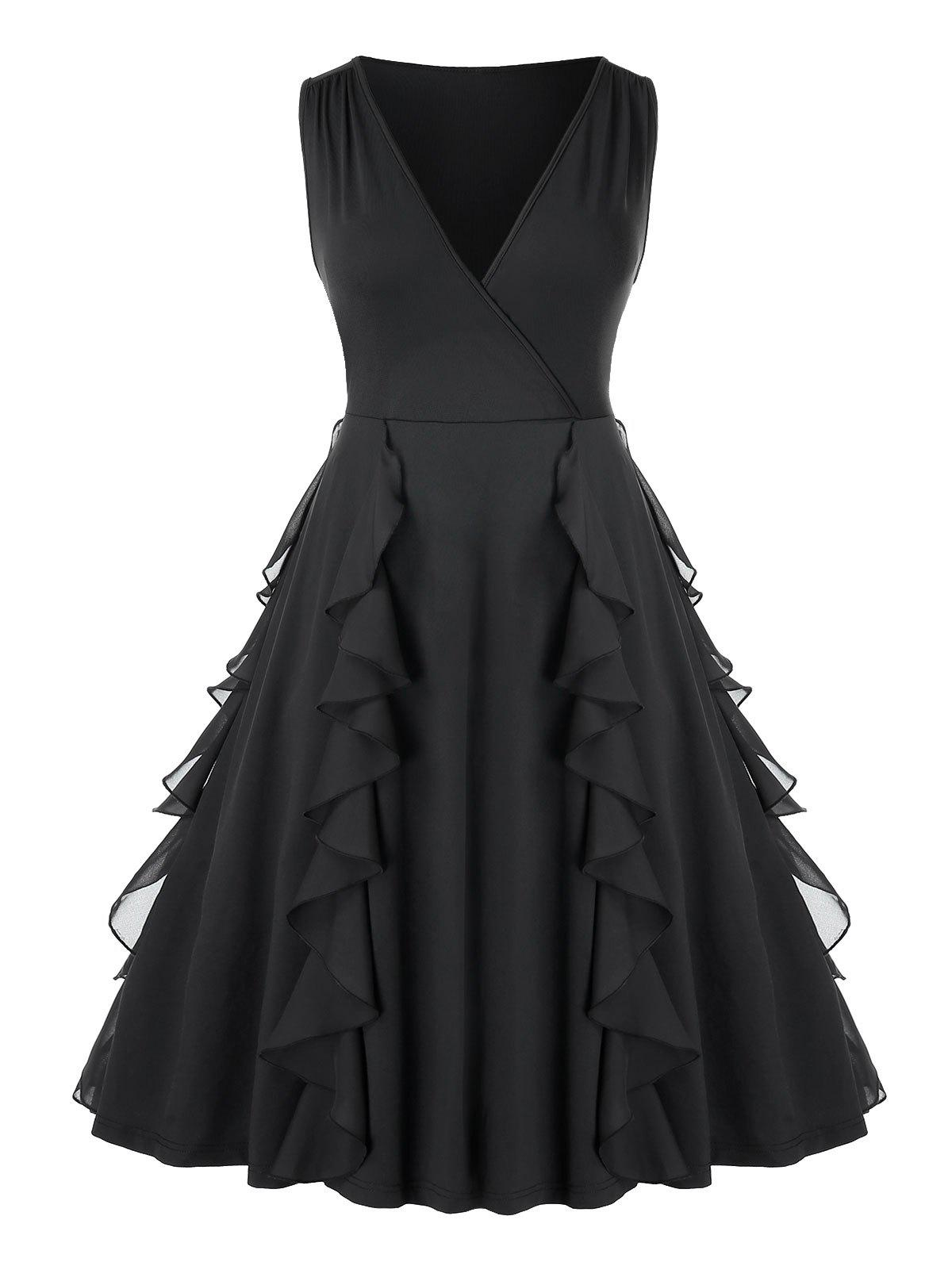 Latest Plus Size Ruffled  Plunging Knee Length Party Dress