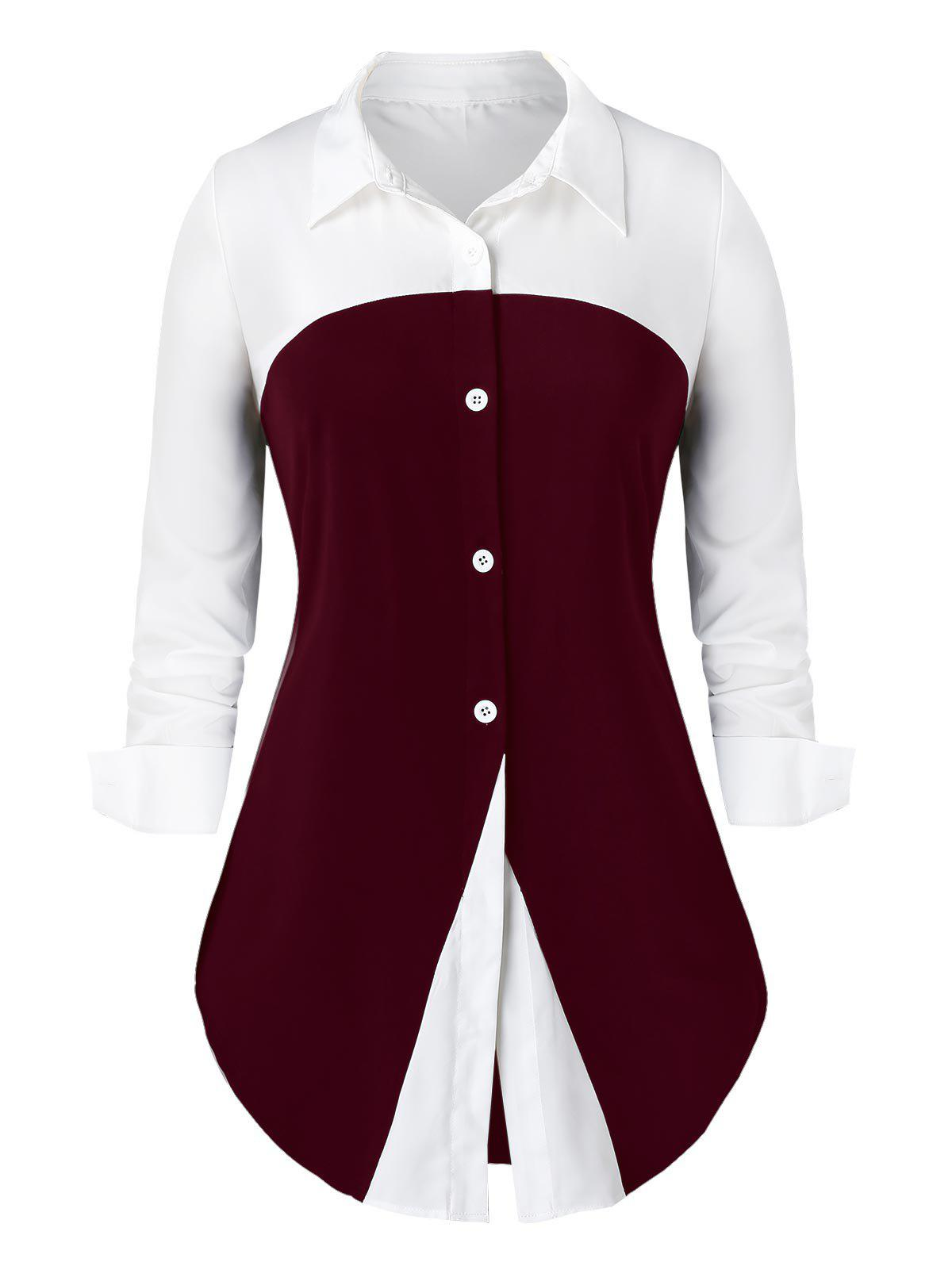 Buy Plus Size Two Tone Button Up Curved Work Shirt