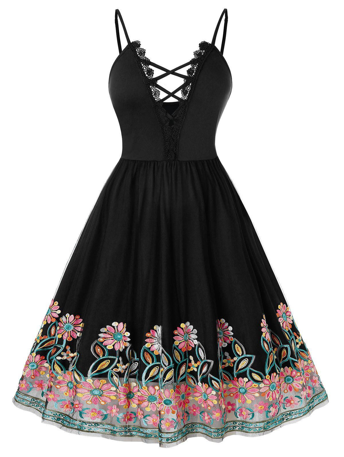 Plus Size Flower Embroidered Mesh Guipure Lace A Line Dress фото