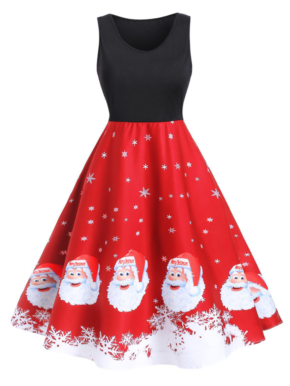Best Christmas Santa Claus Snowflake A Line Tank Dress