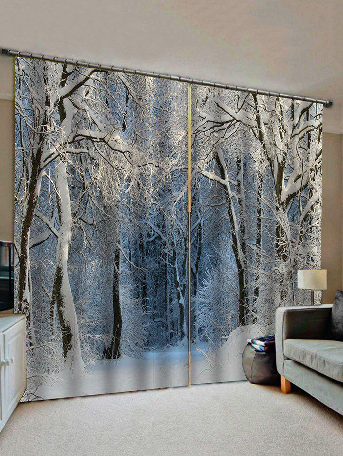 Trendy Snow Forest Pattern Window Curtains