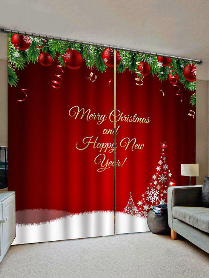 Fancy Merry Christmas Tree Pattern Window Curtains