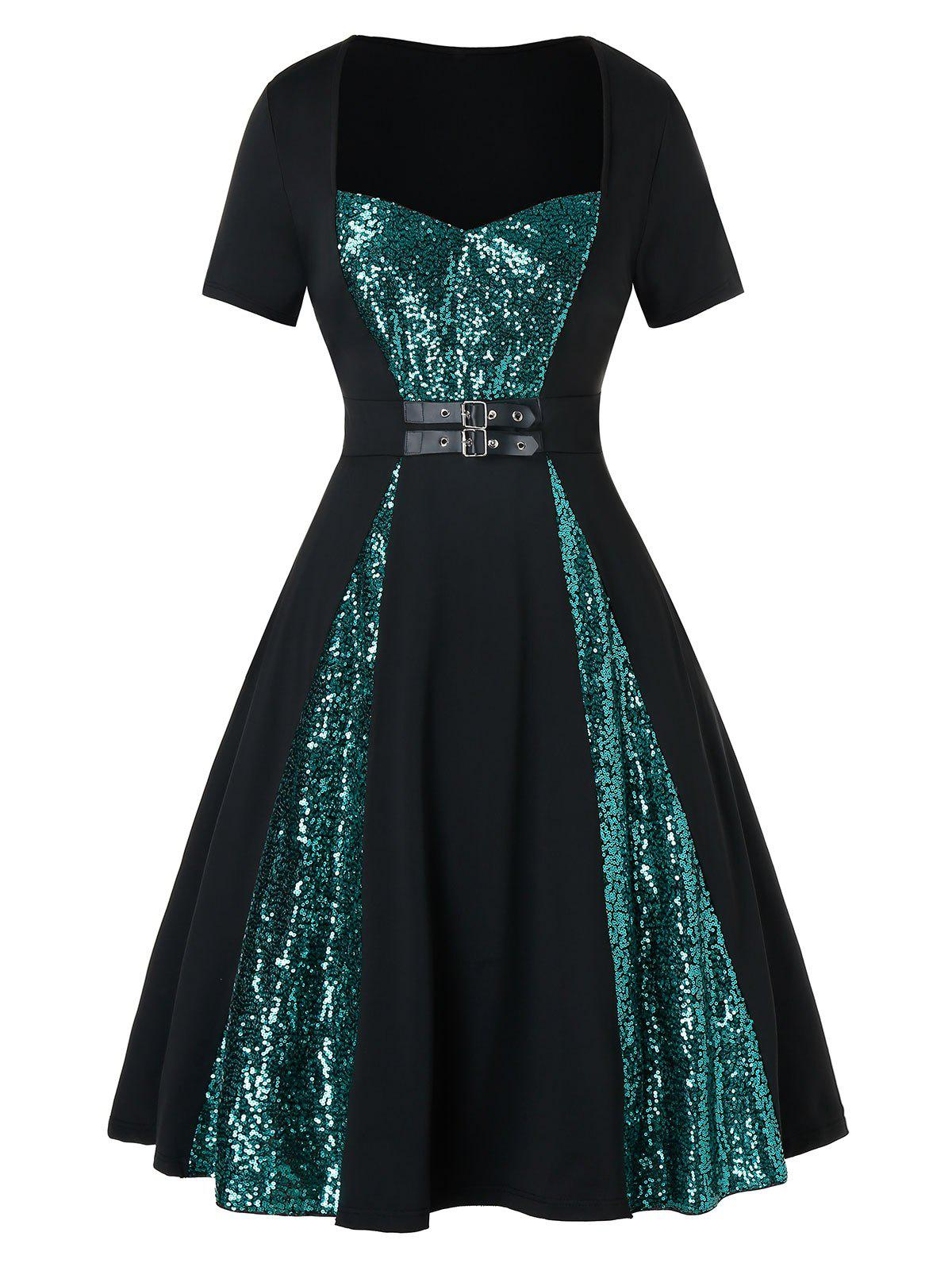 Buy Plus Size Two Tone Sequined Buckle A Line Vintage Dress
