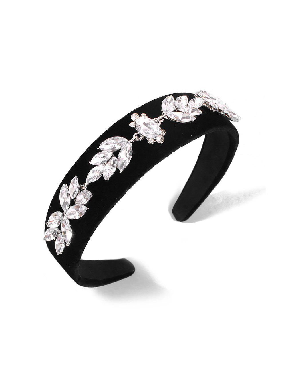 Outfits Rhinestone Velour Floral Wide Hairband