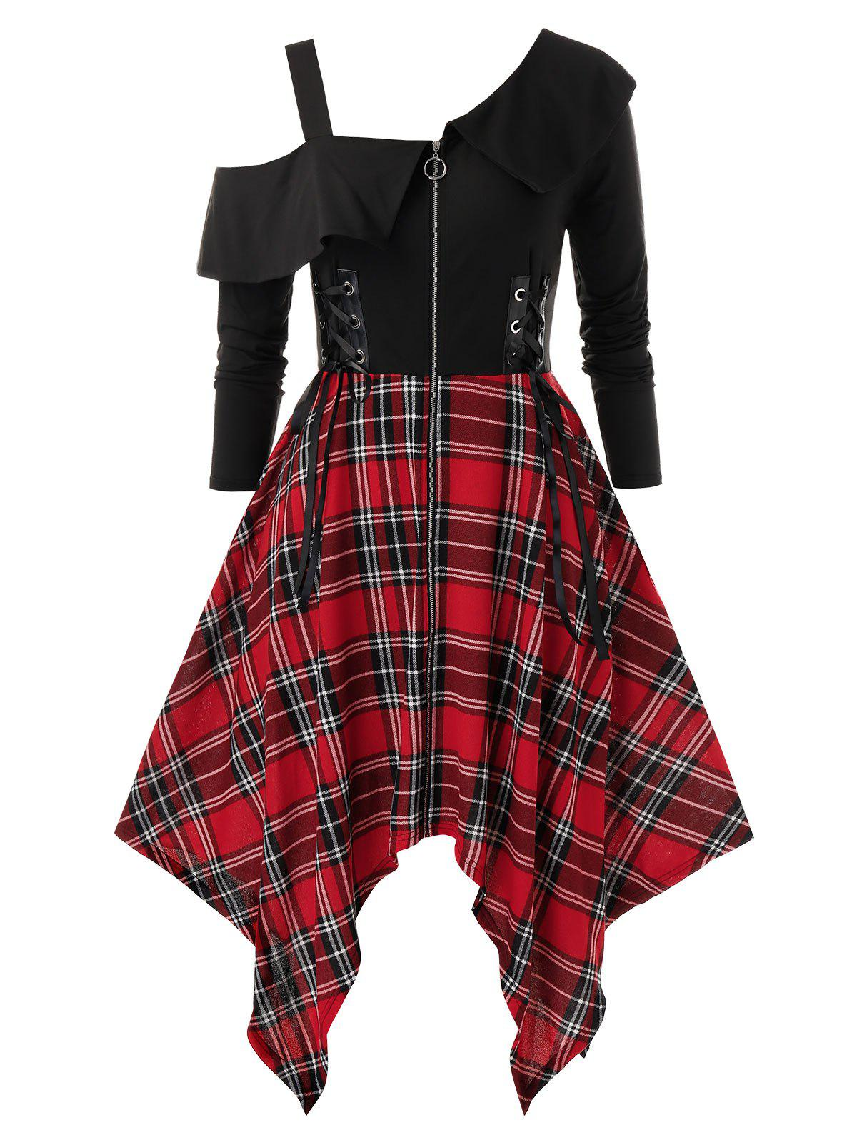 Discount Plus Size Handkerchief Lace Up Plaid Punk Dress