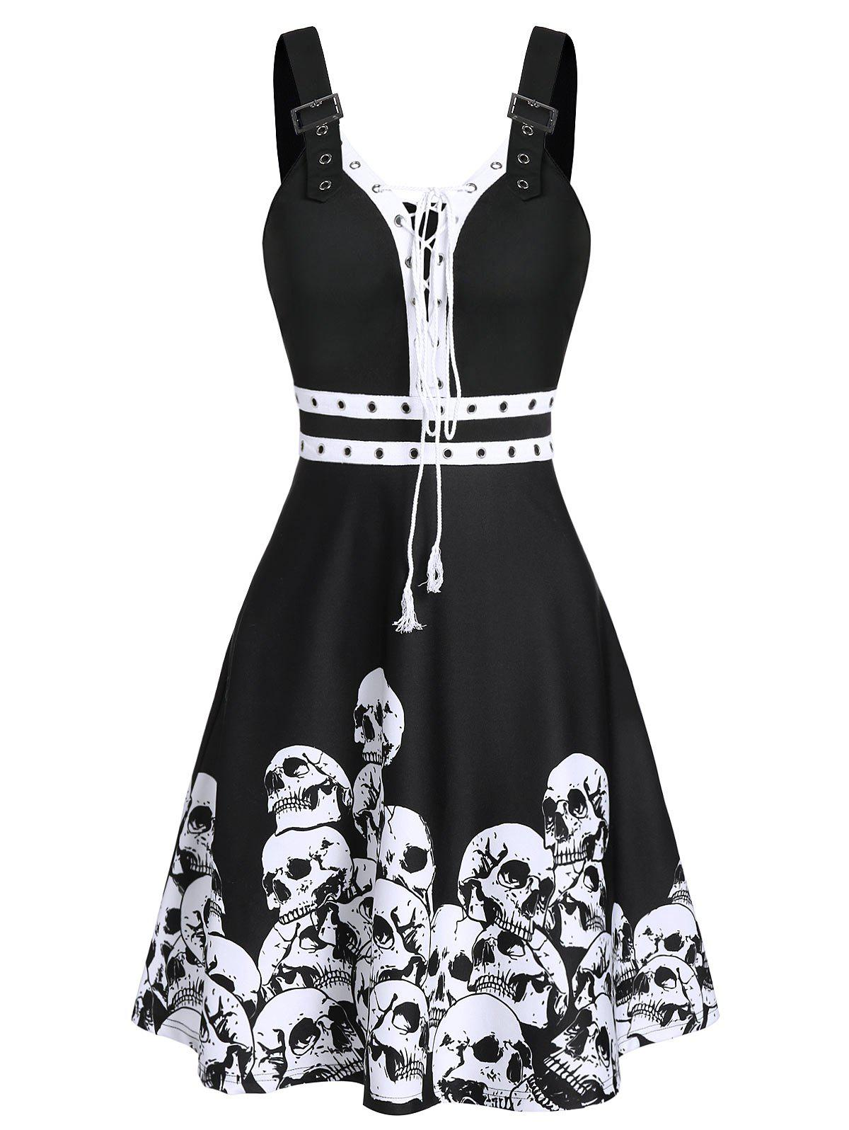 Chic Halloween Skull Print Buckle Strap Lace-up Skater Dress