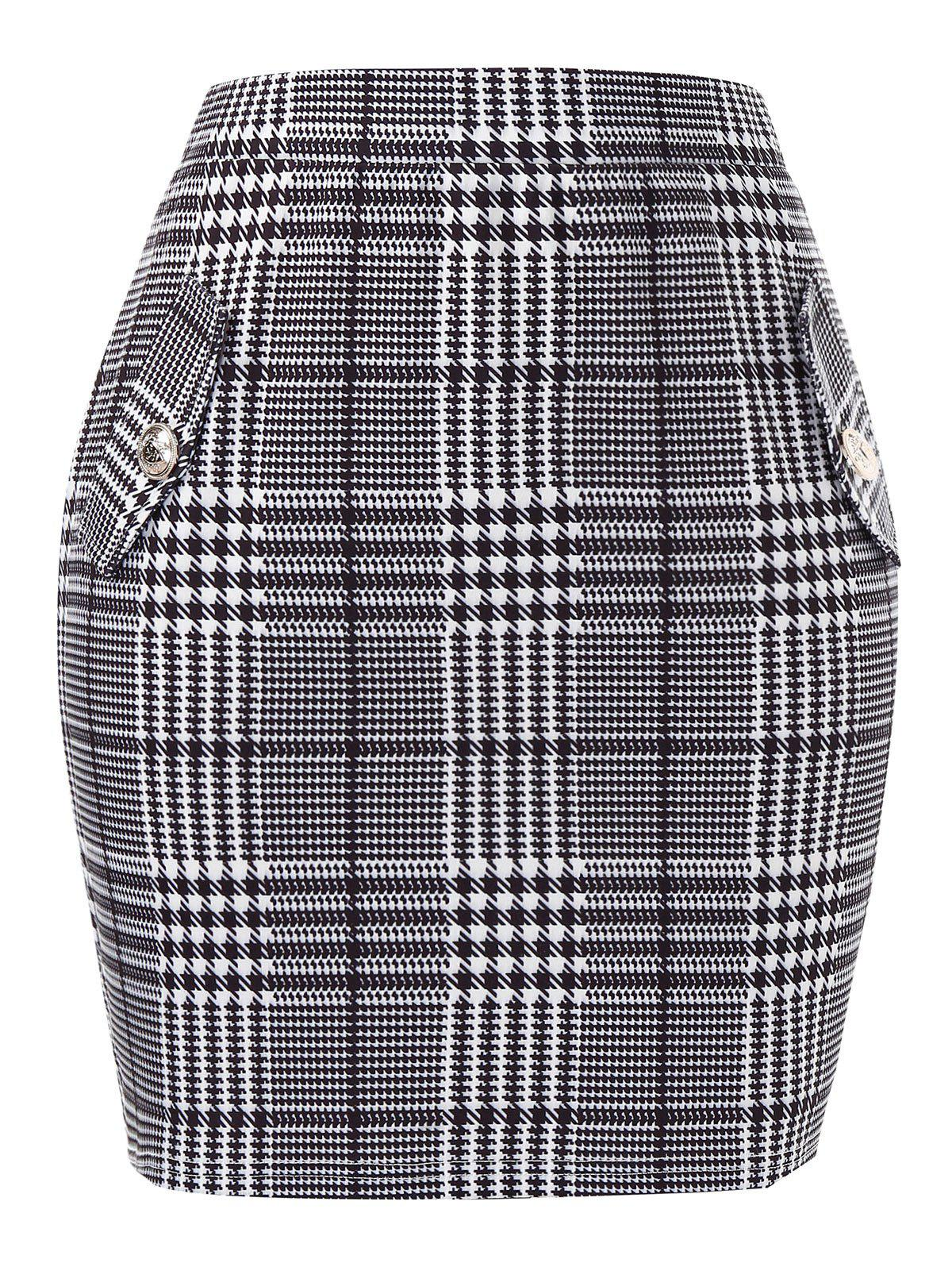 Buy Plus Size Houndstooth Tight High Waisted Skirt