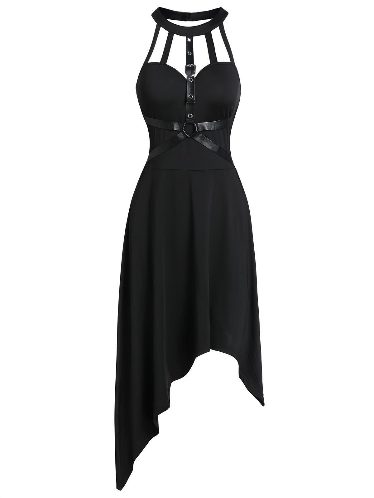 Cut Out manches Harnais d'insertion Robe asymétrique