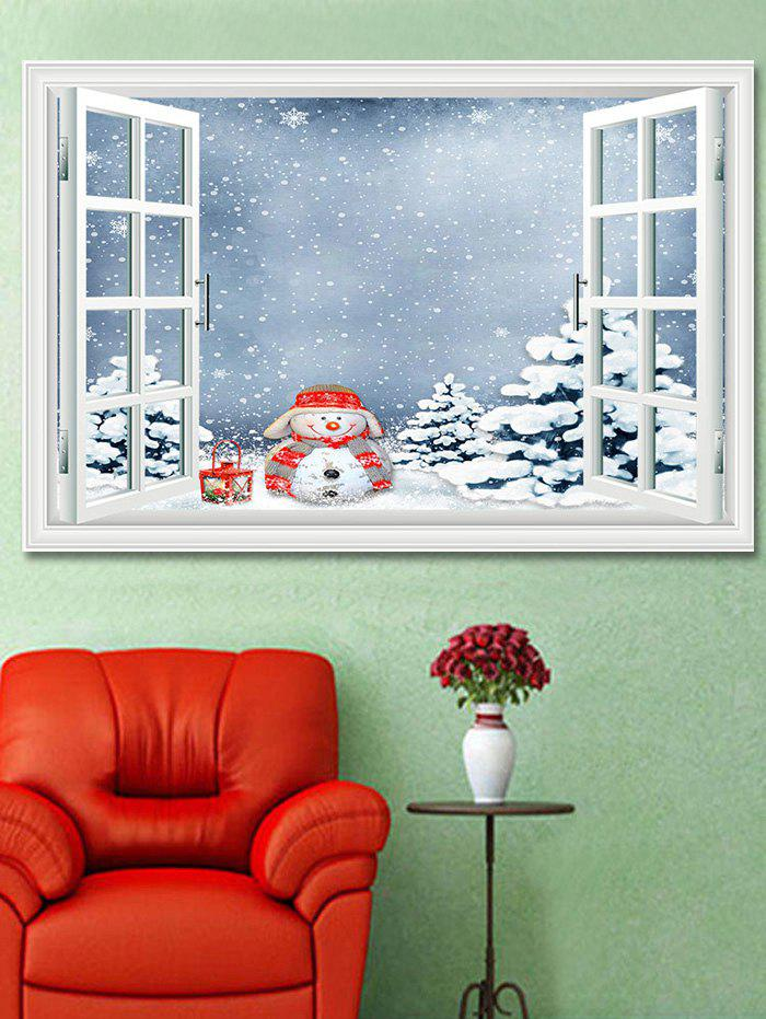 Outfits Christmas Snowman Trees Window Print Decorative Wall Art Sticker