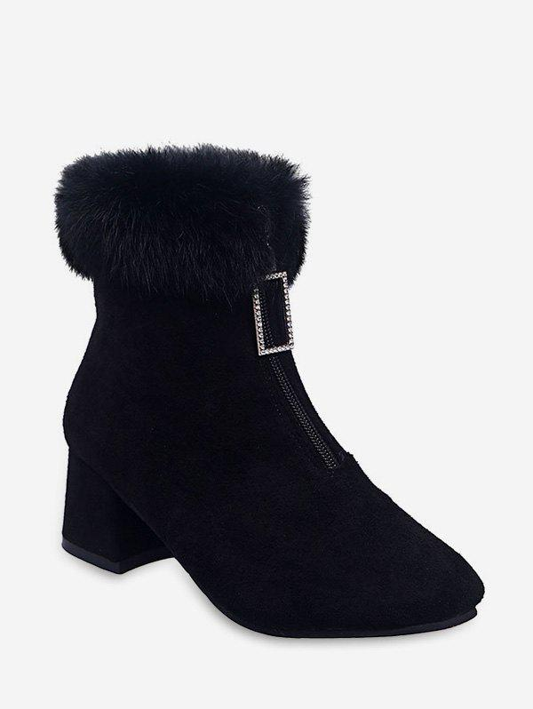 Chic Rhinestone Pull Faux Fur Trim Square Toe Boots