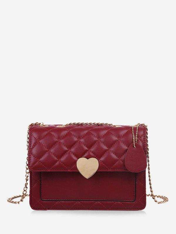 Hot Quilted Heart Chain Crossbody Bag