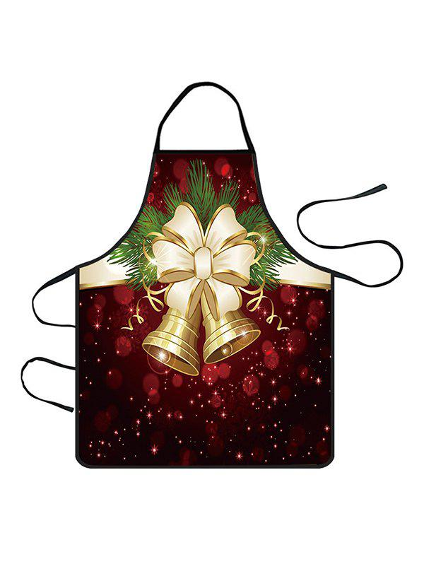 Shops Christmas Bowknot Bells Print Cooking Apron