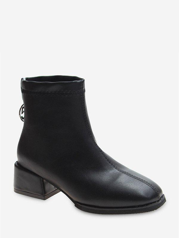 Latest Plain Square Toe Block Heel Ankle Boots