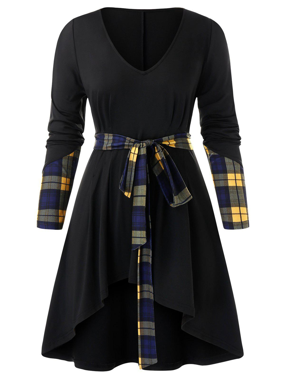 Shop Plus Size Plaid Panel Belted Asymmetrical Tunic Tee