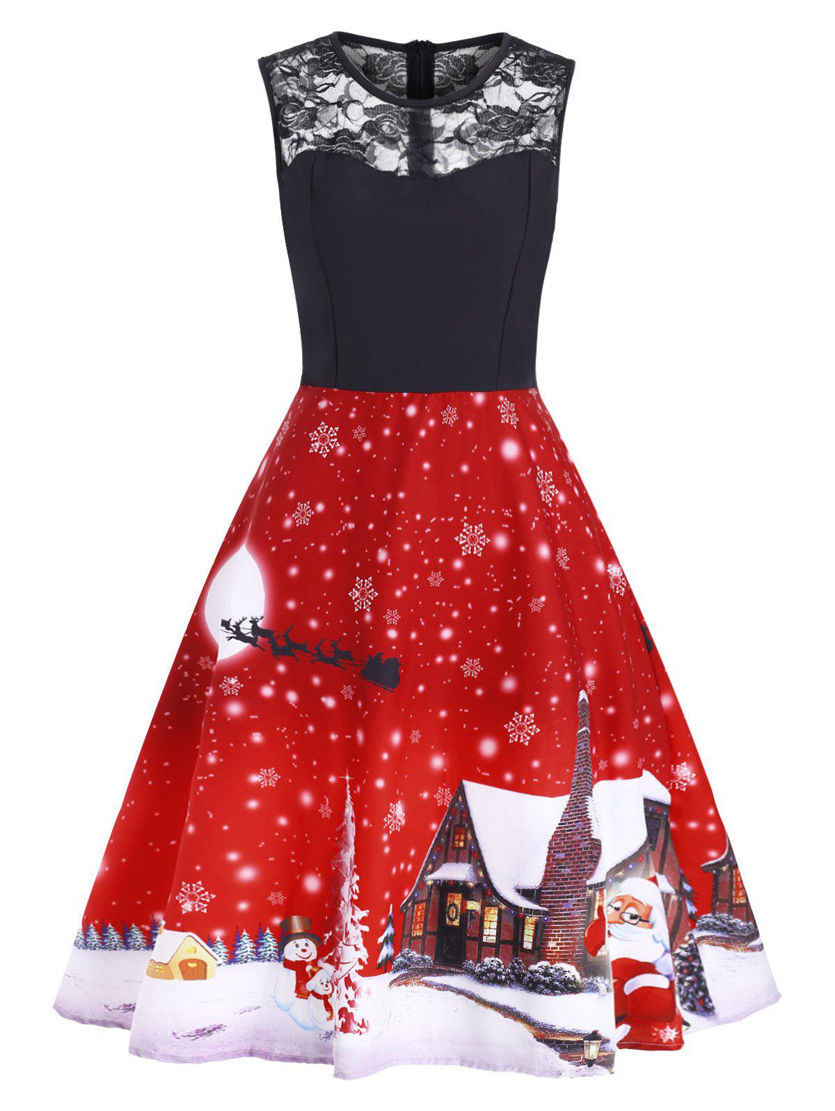 Latest Christmas Lace Panel Snowflake Santa Claus Dress