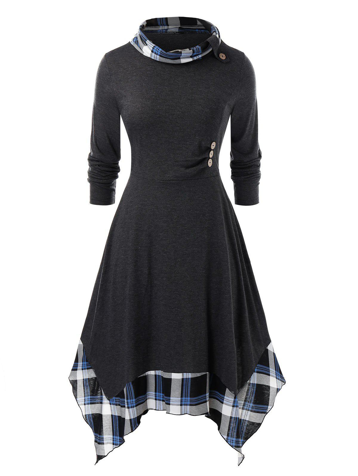 Latest Plus Size Plaid Handkerchief Dress