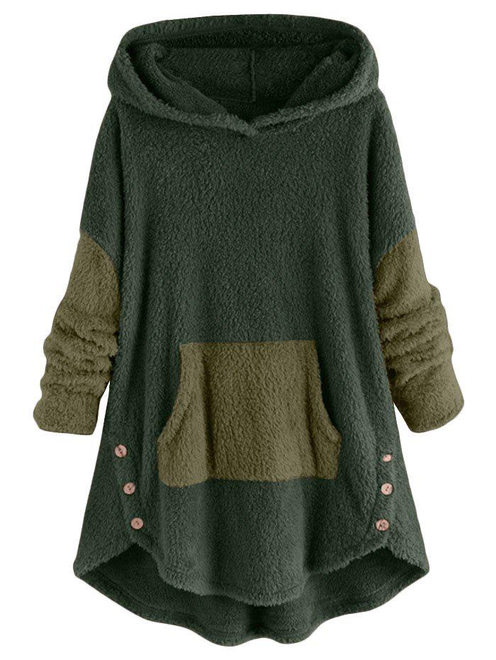 Best High Low Front Pocket Fluffy Faux Shearling Plus Size Hoodie