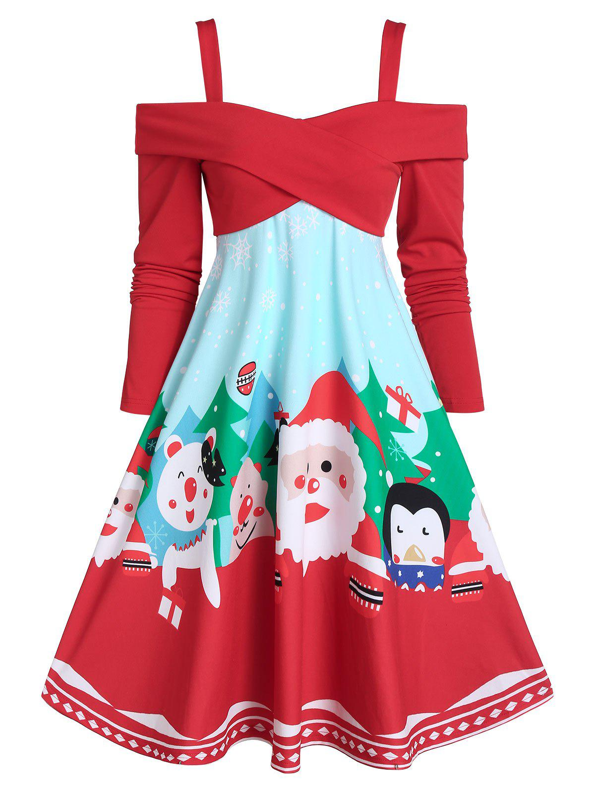 Online Christmas Santa Claus Print Crossover Cold Shoulder Flare Dress