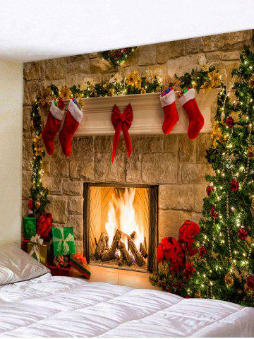 Christmas Tree Gifts Fireplace Print Tapestry Wall Hanging Art Decor