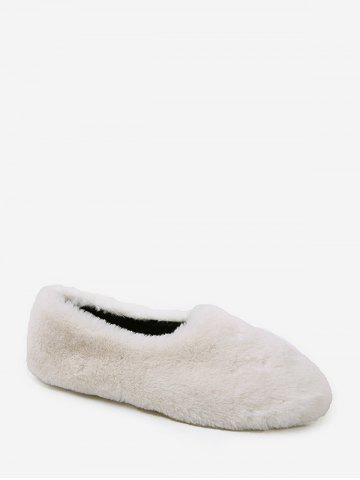Faux Fur Slip On Round Toe Shoes