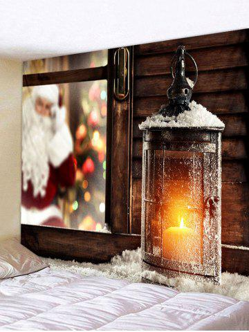 Christmas Lantern Window Print Tapestry Wall Hanging Art Decor - MULTI - W91 X L71 INCH