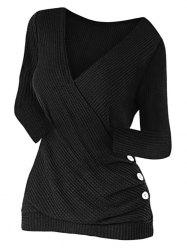 Mock Button Ruched Surplice Knitwear -