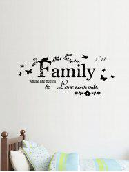 Family Quote Butterfly Print Decorative Wall Art Stickers -