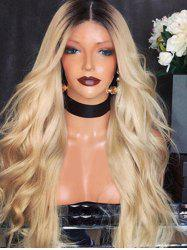 Center Part Ombre Long Wavy Synthetic Wig -