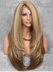 Inclined Bang Colormix Straight Long Synthetic Wig -