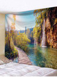 Mountain River Forest Print Tapestry Wall Hanging Art Decoration -