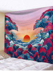 Sunset Ocean Wave Print Japanese Tapestry Wall Hanging Art Decoration -