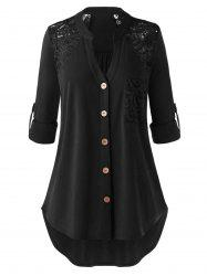 Plus Size Pocket Lace Panel Roll Tab Sleeve Curved Blouse -