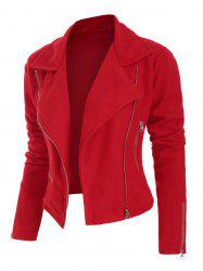 Plus Size Fit Jacket Zippered Slim - Rouge L